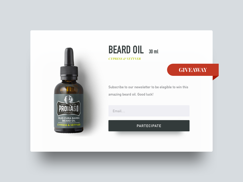 Daily UI 097 - Giveaway subscription newsletter product oil beard giveaway daily ui minimal ui ux dailyui