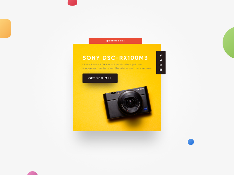 Daily UI 098 - Advertisement photocamera reflex camera sony dsc-rx100m3 discount sale advertisement ads sony concept minimal ui ux daily dailyui
