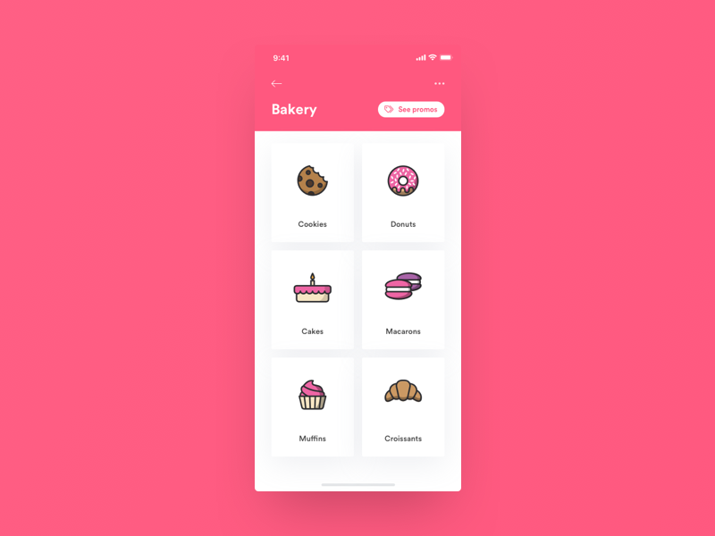 Daily UI 099 - Categories ecommerce catalog order app donuts cookies food bakery minimal concept daily ui dailyui