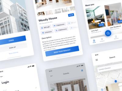 House Rent App 🏡 freebie free luxury home house rent dailyui concept minimal flat blur cards iphonex app ios apartment