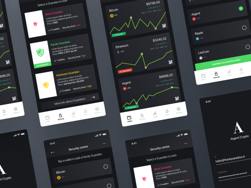Cryptocurrency App - Security Centre 💰 token payment design app cryptocurrency shadow minimal dark free ios wallet security centre litecoin ethereum bitcoin crypto ux ui