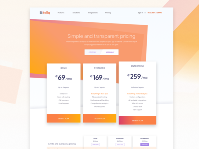 Pricing page for call centre startup website startup saas pricing page orange list gradient feature enterprise centre call