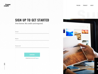 Sign Up Window — Daily UI #001 clean white website page up sign signup 001 dailyui