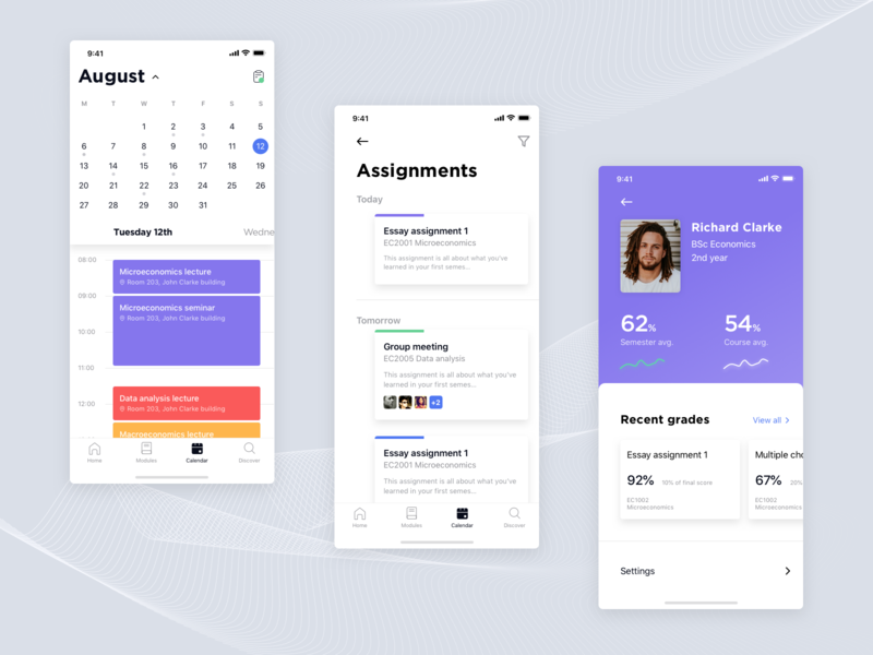 University app concept #2 ux university ui student saas white purple ngdle mobile lms learning management system learning education design college clean app sketch
