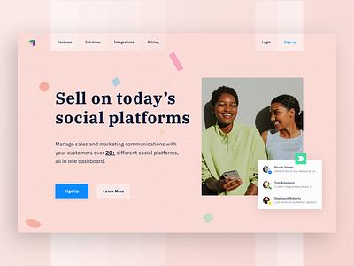 SaaS landing page website ui ecommerce abstract media social sell pink landing page saas
