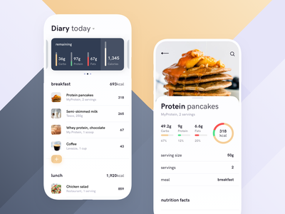 Calorie tracking app exercise healthy lifestyle healthy food health app workout fitness myfitnesspal tracking redesign concept health