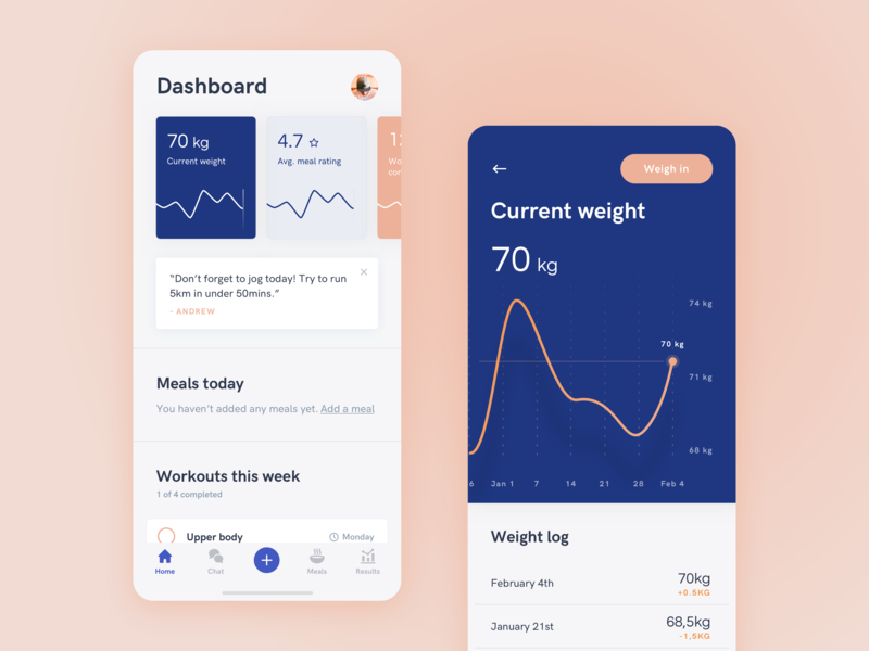 Weight loss app design sprint workout weight mobile weight loss coach wellness fitness health sand blue white clean ux ui app saas