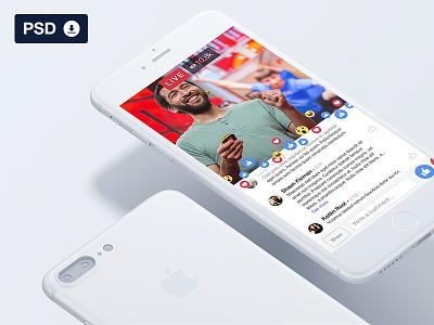 Facebook Live UI - Freebie PSD download free gui fb psd mockup freebie ui live facebook