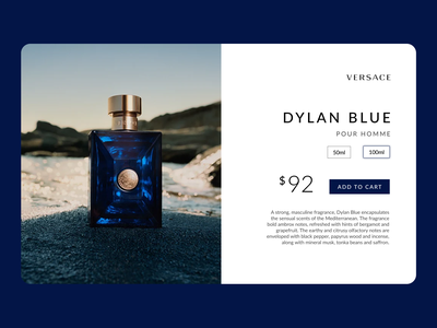 Dribbble Weekly Warm Up - Versace Product Page fashion professional clean minimal branding images design weekly warm-up weekly dribbble dylan blue versace ui