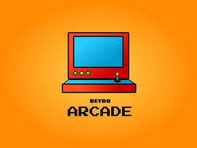 Weekly Warm-Up | Retro Logo for Retro Game Arcade gaming orange arcade retro figma gradient clean dribbble weekly warmup vector logo illustration branding professional design