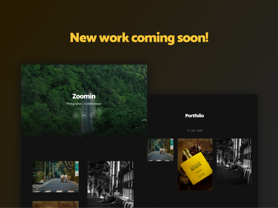 Zoomin | Coming Soon! web design black and white dark portfolio photography clean design ui images professional black