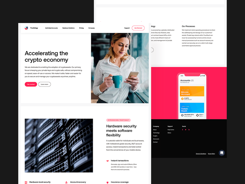 Trustology — Site Release crypto agency webpage landing page mockup pink product together clean white ui ux tech saas web design web ux ui homepage