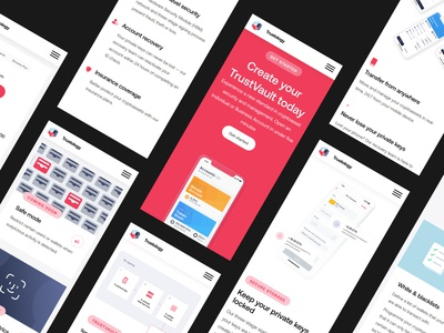 Trustology – Mobile Screens mockups mobile agency ui design trustology uiux tech saas app web design web together ux ui homepage clean