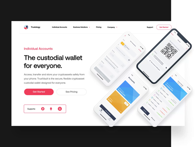 Trustology – Landing Page landing page bitcoin phone animation design white ui ux tech saas homepage web design web together ux ui clean