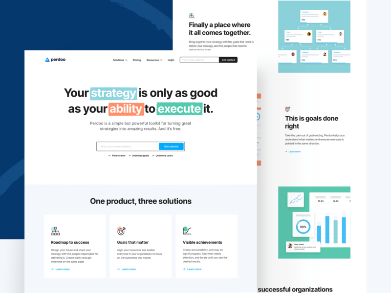 Perdoo — Site Release masthead colours landing page branding perdoo ui ux tech saas web design web together ux ui homepage clean