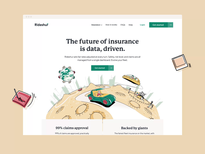 Rideshur — Homepage beige masthead agency london branding agency animation after effects animation illustration branding rideshur tech app saas web design web together ux ui homepage clean