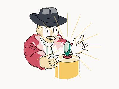 Rideshur – Indiana Jones character vector illustrator red indiana jones beige illustration white ui ux tech app saas web design web together clean