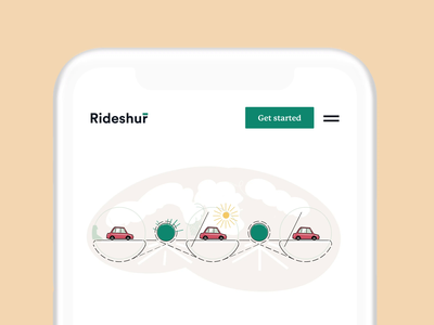 Rideshur – Illustration Animation london agency mobile design car masthead mobile animation illustration tech app saas ui web design web together ux homepage clean