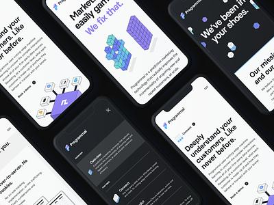 Programmai — Mobile Screens agency london branding agency isometric branding programmai tech app saas web design web together ux ui homepage clean purple website