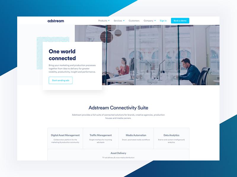 Adstream Global Website homepage web design illustration blue design clean web typography