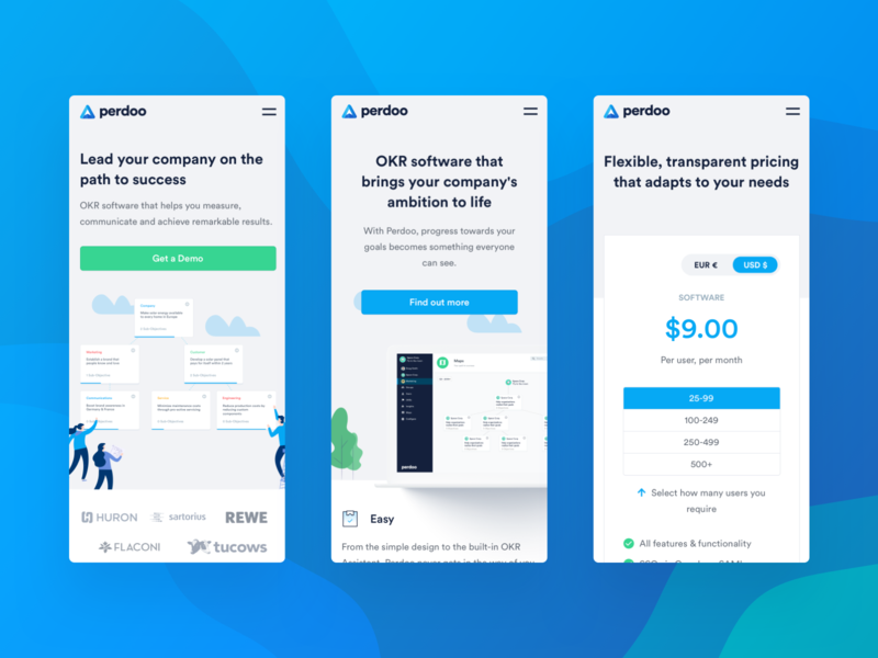 Perdoo — Mobile View features homepage pricing perdoo designer user experience marketing site tech saas together ui ux website