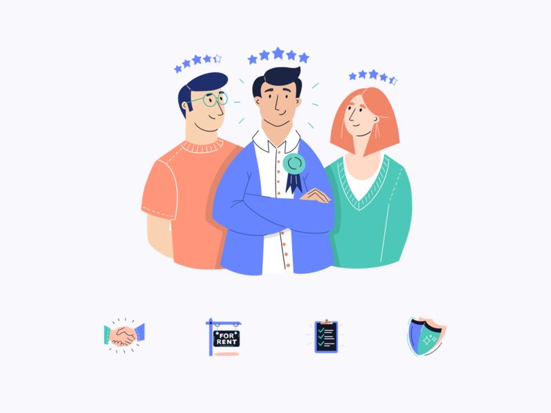 Flatfair — Illustrations illustration art illustrations website together saas tech marketing site flatfair proptech fintech