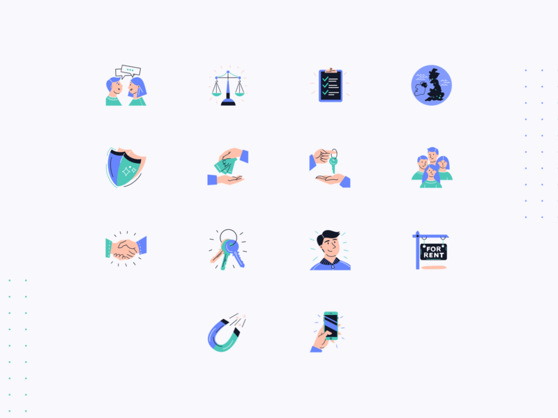 flatfair — Icon Pack icons fintech proptech flatfair marketing site tech saas together website illustrations illustration art