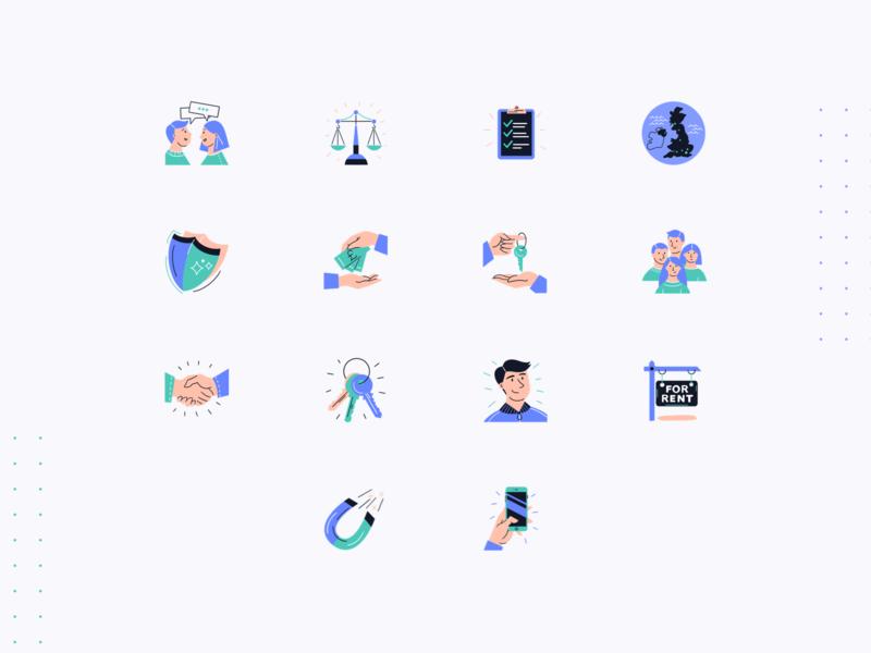 flatfair — Icon Pack icons fintech proptech flatfair marketing site tech saas together website illustrations illustration art