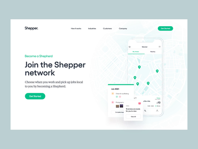 Shepper — Website Transitions product shot mobile ui after effects animations shepper logo branding illustration clean ui ux web design web together ux ui homepage