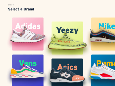 Sneaker Card Hover Exploration #2 yebra ronnie fieg kith wotherspoon ultraboost motion yeezy puma vans asics nike adidas sneakers