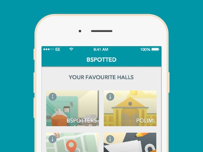 Bspotted Home home screen flat iphone social post network illustration university ios college blue app