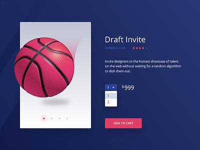 E-commerce (Single item) :: Daily UI - 012 ui daily e-commerce shop cart basketball dropdown invite draft dribbble 012