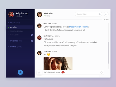 Direct Messaging :: Daily UI - 013 ui daily redesign flat slack chat desktop app message 013