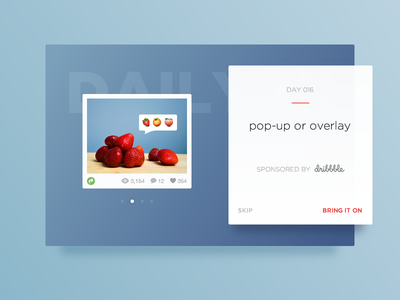 Pop-up / Overlay :: Daily UI - 016 pop-up 016 challenge dribbble sponsor card overlay ui daily