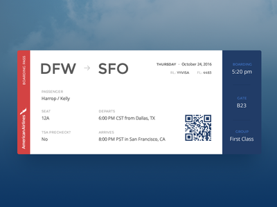Boarding Pass :: Daily UI - 024 travel redesign airline plane pass boarding qr code 024 ui daily ticket