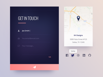 Contact Us :: Daily UI - 028 028 dark card social media form map contact ui daily