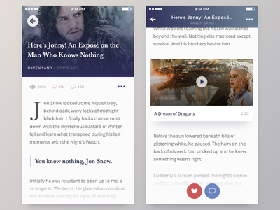 Blog :: Daily UI - 035 ios post flat game of thrones article blog material card mobile 035 dailyui