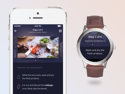 Recipe :: Daily UI - 040 timeline icons carousel ios mockup directions watch wearables mobile recipe 040 dailyui