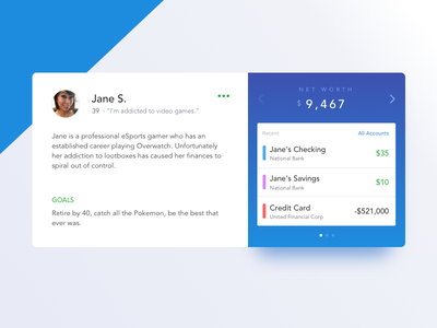 Persona Card app widget money blue flat identity profile banking financial accounts card persona