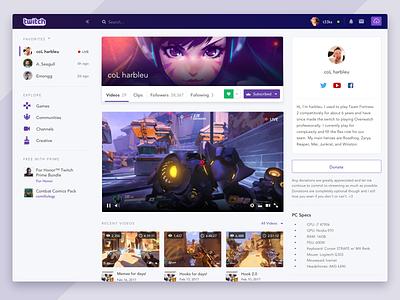 Redesign - Twitch.tv flat card sidebar navigation profile app concept video desktop twitch redesign