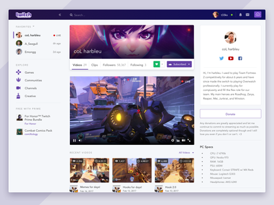 Redesign - Twitch.tv flat card sidebar navigation profile app concept video desktop twitch redesign