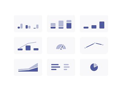 Data Visualization Icons ui icons chart charts data viz dataviz data visualization purple ux graph data minimal flat design
