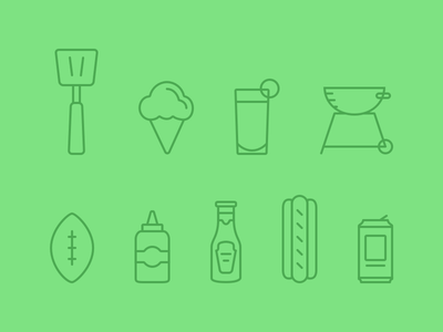 Sigstr Summer Icons beer hot dog ketchup mustard drink ice cream grill football line set green icons