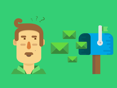 10 Email Habits Illo blue green marketing mustache mail mailbox email guy man person character illustration