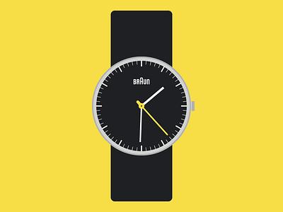 Braun Watch flat vector illustration design industrial german rams dieter yellow black watch braun