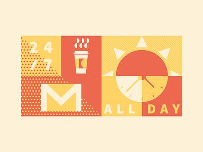 McDonalds All Day Breakfast Illo illustration coffee email type pattern texture flat clock sun mcdonalds yellow red