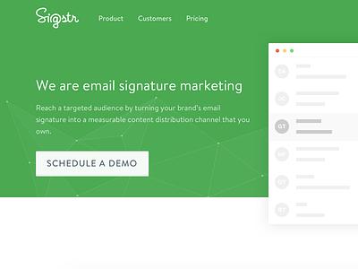 Sigstr Redesign - Homepage green ux ui web design website email signatures saas homepage redesign marketing