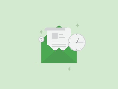 When is the Best Time To Send Emails Illustration flat vector style stars question mark mail email time clock green blog illustration