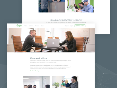 Sigstr Redesign - Careers marketing redesign jobs careers saas signatures email website web design ui ux green