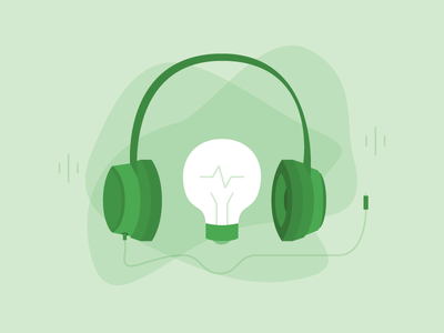 Podcasts for Inspiration Illustration illustration blog green email podcasts headphones lightbulb style vector flat